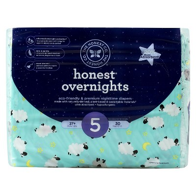 Honest Company Overnight Diapers-Sleepy Sheep - Size 5  (30 Count)