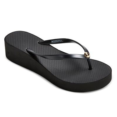 Women's Amaya Wedge Flip Flops - Black 10 - Merona™
