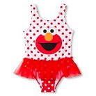 Sesame Street Elmo Toddler Girls' 1-Piece Swimsuit - Red