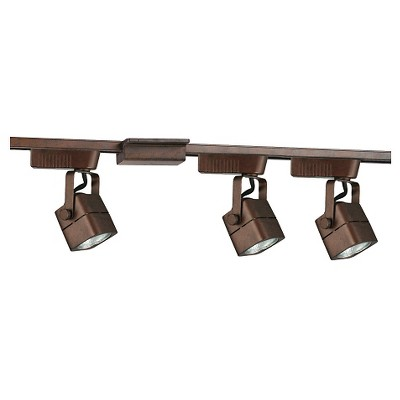 Cal Lighting Track Lighting Set with 3 Track Heads - Rust