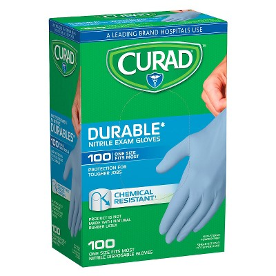 Curad Chemical Resistant Durable Nitrile Exam Gloves - 100 Count