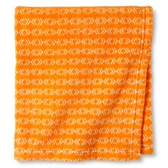 "Territory® Fluffy Fleece Blanket with Canvas Bag - Orange Print (30"" x 40"")"