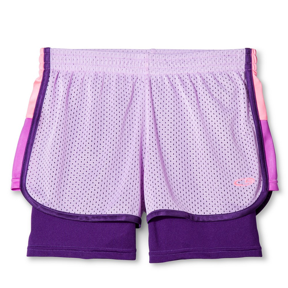 Girls' 2 in 1 Mesh Shorts Lavender (Purple) Sparkle L - C9 Champion, Girl's, Size: Large
