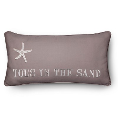 """Pismo Beach Toes in Sand Pillow (12""""x24"""") Brown - homthreads™"""