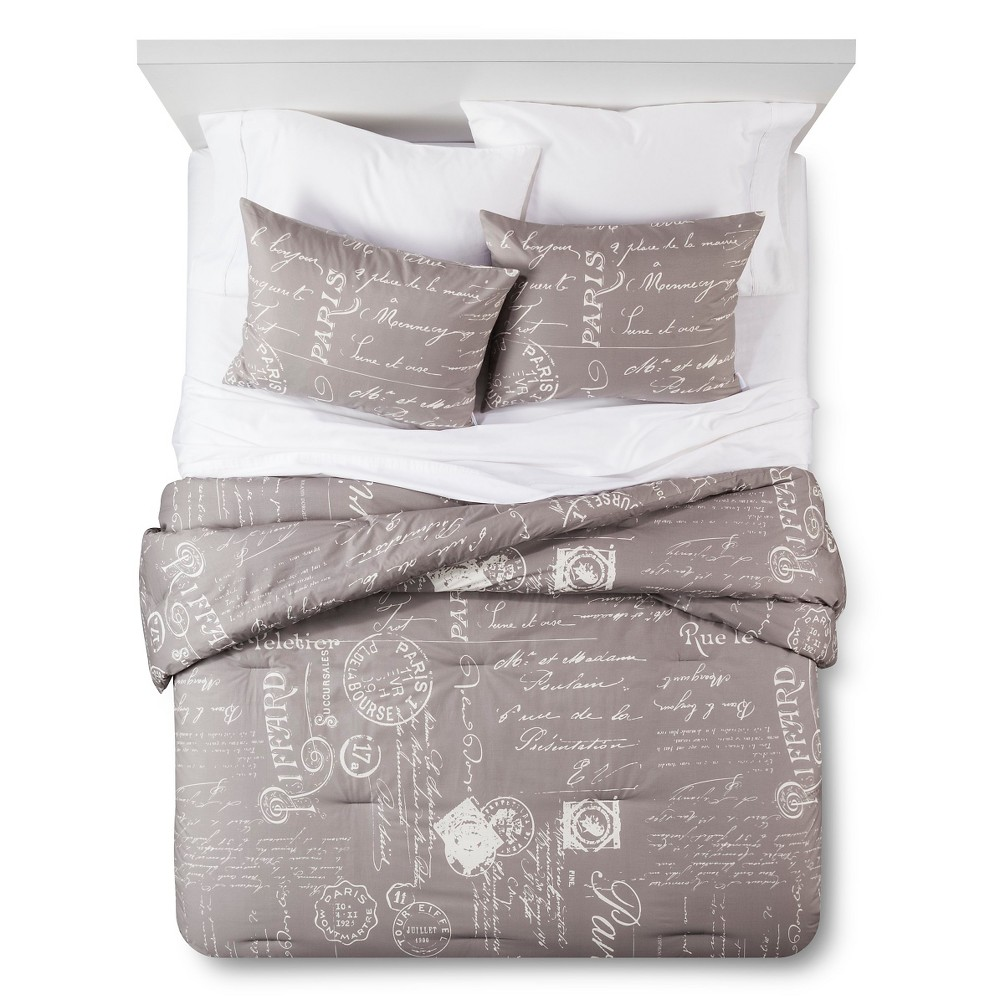 homthreads Paris Comforter and Pillow Sham Set - Grey (Twin), Multi-Colored