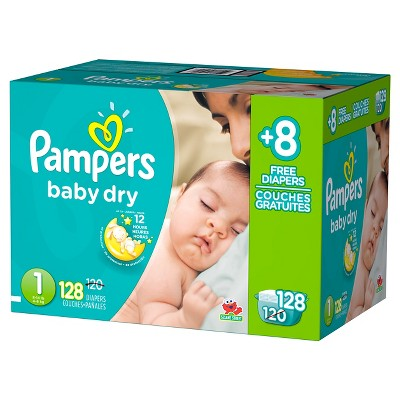 Pampers Baby Dry Diapers, Bonus Pack - Size 1  (128 Count)