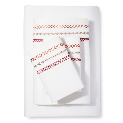 Mudhut™ Embroidered Sheet Set - Red - Queen