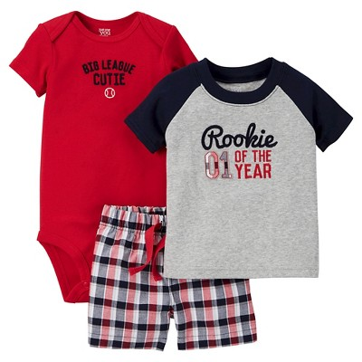 Just One You™Made by Carter's® Baby Boys' 3pc Rookie Set - Grey/Red/Navy 3M