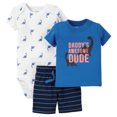 Just One You™Made by Carter's® Baby Boys' 3pc Daddy's Awesome Dino Dude - Blue 3M