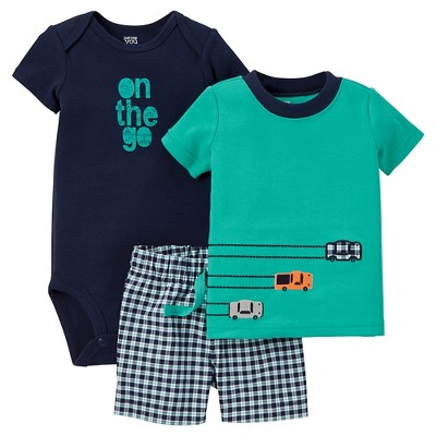 Just One You™Made by Carter's® Baby Boys' 3pc Gingham Set - Teal/Navy 9M