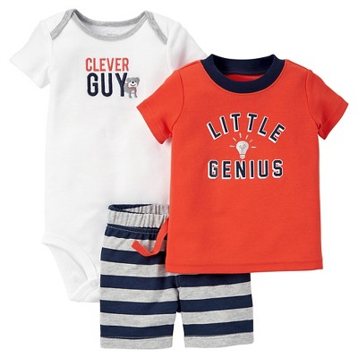 Just One You™Made by Carter's® Baby Boys' 3pc Little Genius Set - Orange/White/Navy NB