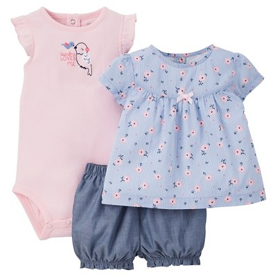 Just One You™Made by Carter's® Baby Girls' 3pc Floral Bird Set - Pink/Blue 3M