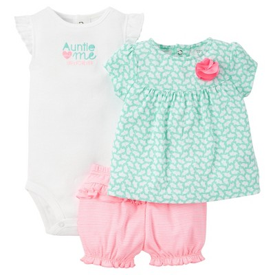Just One You™Made by Carter's® Baby Girls' 3pc Auntie Rosette Set - Mink/Neon Pink 3M