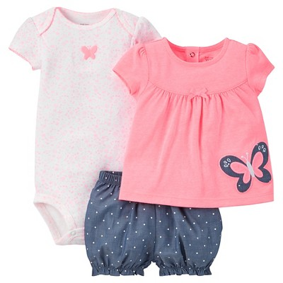 Just One You™Made by Carter's® Baby Girls' 3pc Butterfly Dot Set - Pink/Chambray NB