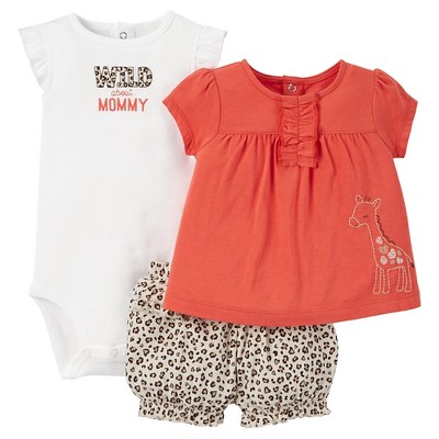 Just One You™Made by Carter's® Baby Girls' 3pc Giraffe Animal Print Set - Orange 3M