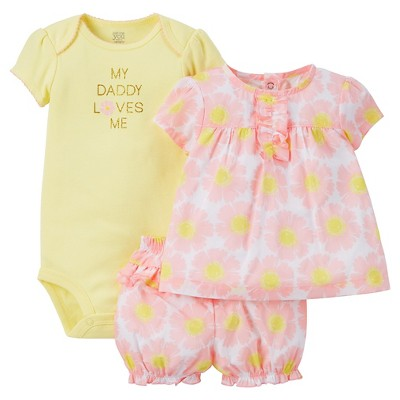 Just One You™Made by Carter's® Baby Girls' 3pc Floral Daddy Loves Me Set - Pink/Yellow 3M