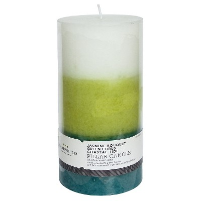 Threshold™ Layered Mottled Pillar Seasonal - White/Lime/Teal (3x6)