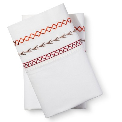 Mudhut™ Embroidered Pillow Case Set - Red - Standard