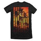 Men's Palm Sunset Extra Long T-Shirt Black L - Rebels & Nomads