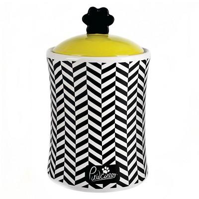 "Housewares International 10"" Pawcasso Pet Jar with Black and White Chevron"