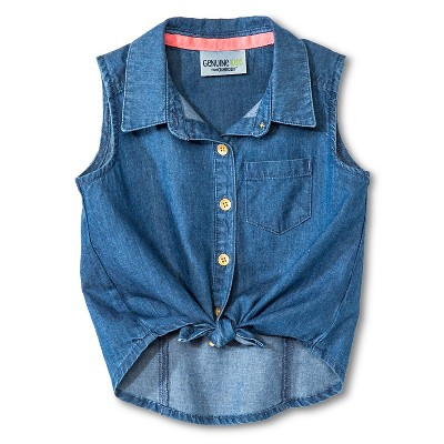 Baby Girls' Sleeveless Chambray Top Blue - Genuine Kids from Oshkosh™ 18M