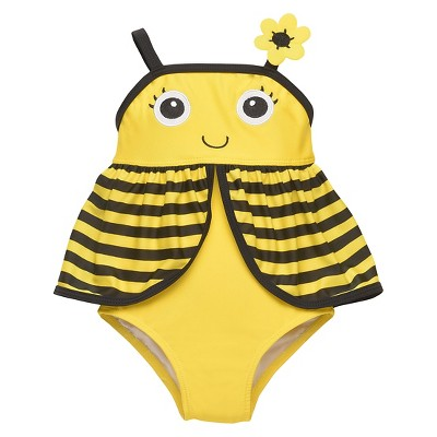 Baby Girls' 1-Piece Bumble Bee Swimsuit - Yellow 9M