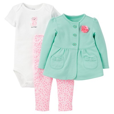 Just One You™Made by Carter's®  Newborn Girls' 3 Piece Sets - Mint/Pink 6M