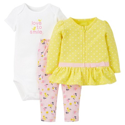 Just One You™Made by Carter's®  Newborn Girls' 3 Piece Sets - Yellow/Pink 9M
