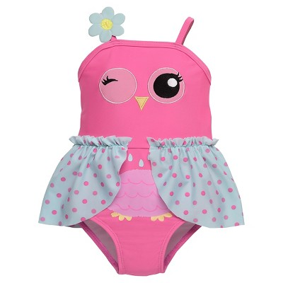 Baby Girls' 1-Piece Owl Swimsuit - Pink 3M