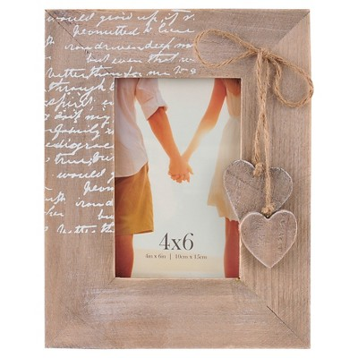 Snap Wood Hearts 4 x6  Frame - Natural