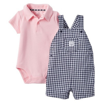 Just One You™Made by Carter's®  Newborn Boys' Shortall - Pink/Navy 12M