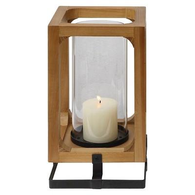 "Metal Wood and Glass Lantern (13-3/4""H)"