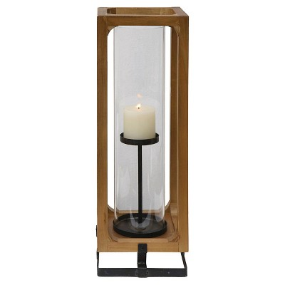 "Metal, Wood and Glass Lantern (23""H)"