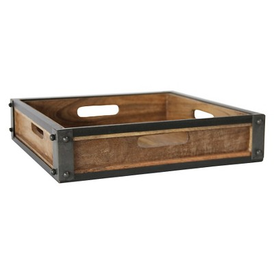 "Square Metal and Mango Wood Tray with Handles (14"")"