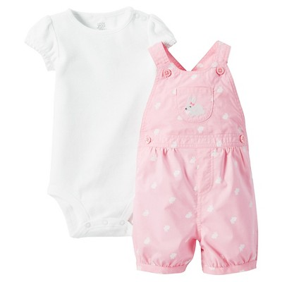 Just One You™Made by Carter's®  Newborn Girls' Shortall - Pink/White 9M