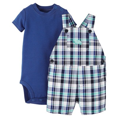Just One You™Made by Carter's®  Newborn Boys' Plaid Turtle Shortall - Blue/Green 9M