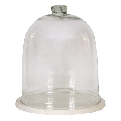 "Round Glass Cloche with Marble Tray (12"")"