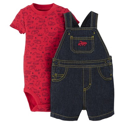 Just One You™Made by Carter's®  Newborn Boys' Firetruck Shortall - Denim/Red 3M