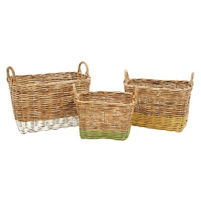 "Arurog Paint Dipped Baskets with Handles (22-1/2""L)"