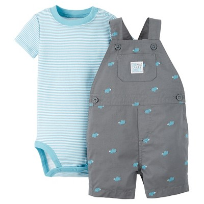 Just One You™Made by Carter's®  Newborn Boys' One Tough Dude Shortall - Grey/Blue 18M