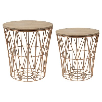 "Metal Baskets with Wood Lid (20-1/8""H )"
