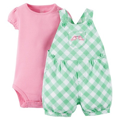 Just One You™Made by Carter's®  Newborn Girls' Pink Birds Shortall - Green/Pink 9M