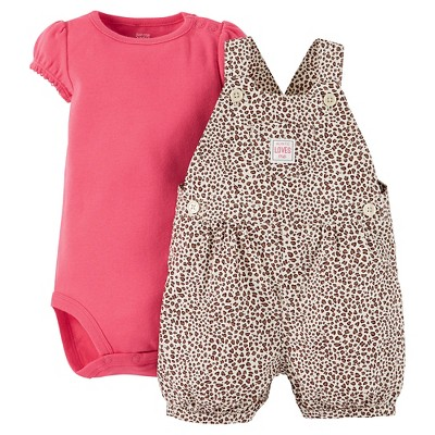 Just One You™Made by Carter's®  Newborn Girls' Animal Print Shortall - Pink 3M