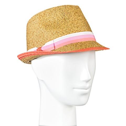 s straw hat fedora pink stripe merona target