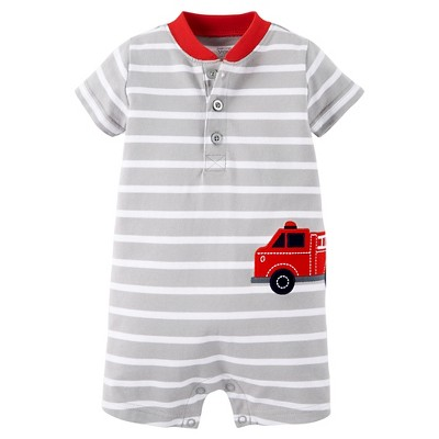 Just One You™ Made by Carter's® Newborn Boys' Romper - Grey & White 3M