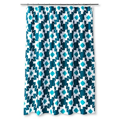 Shower Curtain Sabrina Soto Geometric White Paradise Teal Turquoise
