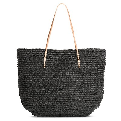 Women's Solid Packable Straw Tote Black - Merona™
