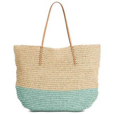 Women's Stripe Packable Straw Tote Soft Aqua - Merona™