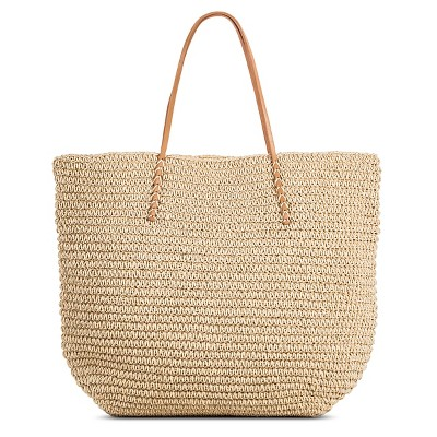 Women's Solid Packable Straw Tote Natural - Merona™