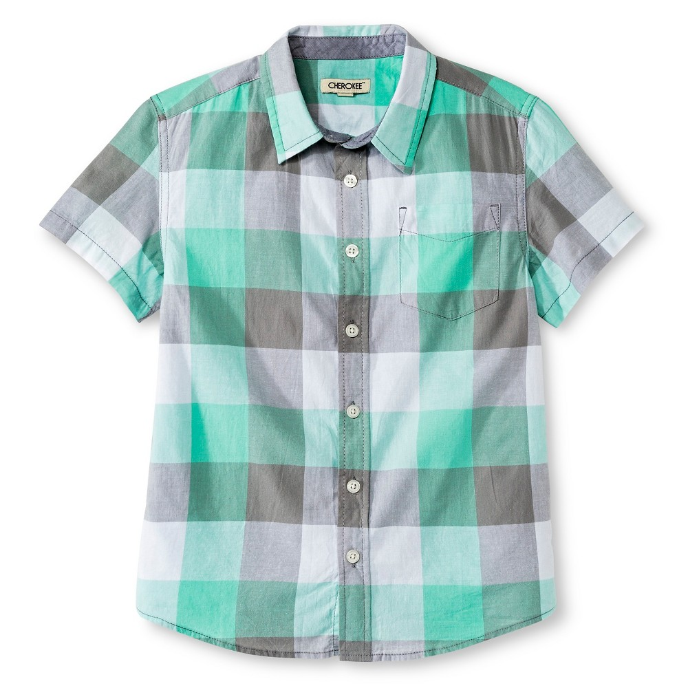 Boys 39 Button Down Shirt Mint Green Plaid Husky Xl